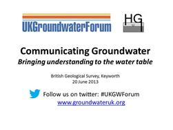 Communicating groundwater workshop slide