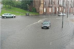 An extreme rainfall event in Glasgow on 30 July 2002 caused severe surface water flooding, image courtesey of Glasgow City Council and Scottish Water © 2002